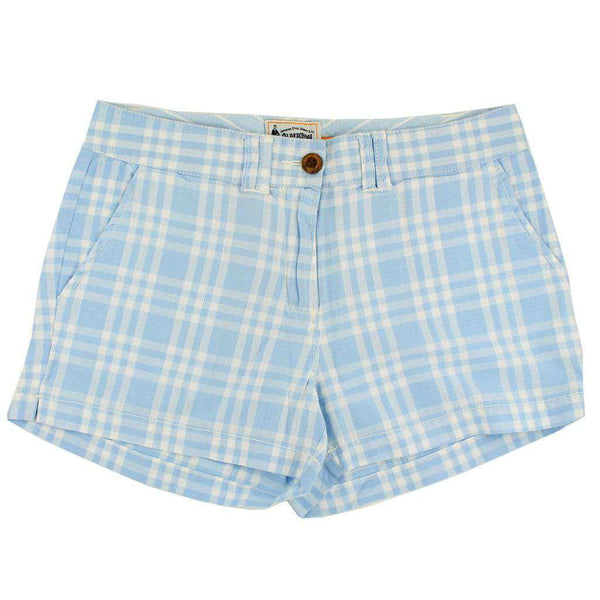 Women's Shorts in White and Carolina Blue Madras by Olde School Brand