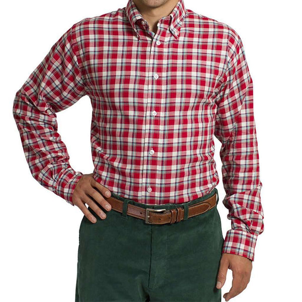 Straight Wharf Button Down in Plaid Cinnamon by Castaway Clothing