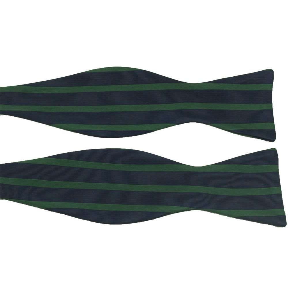Navy and Green Sailor Stripe Bow Tie by Anchored Style