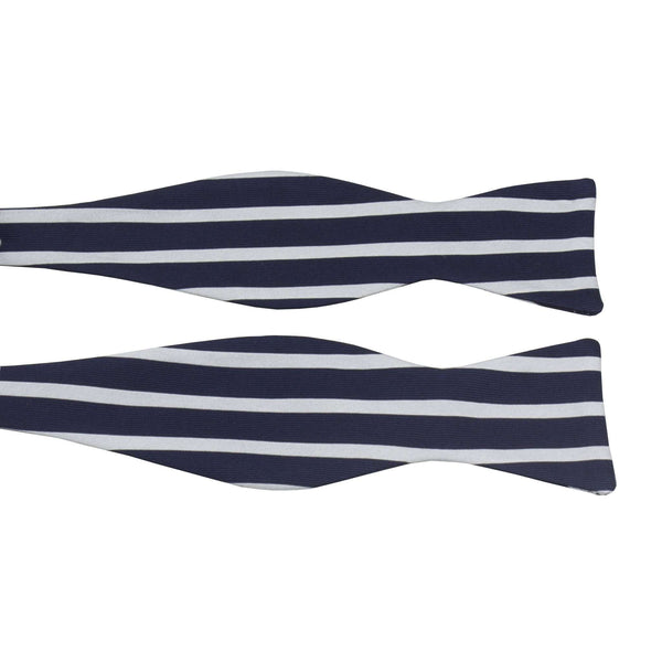 Navy and Silver Sailor Stripe Bow Tie by Anchored Style