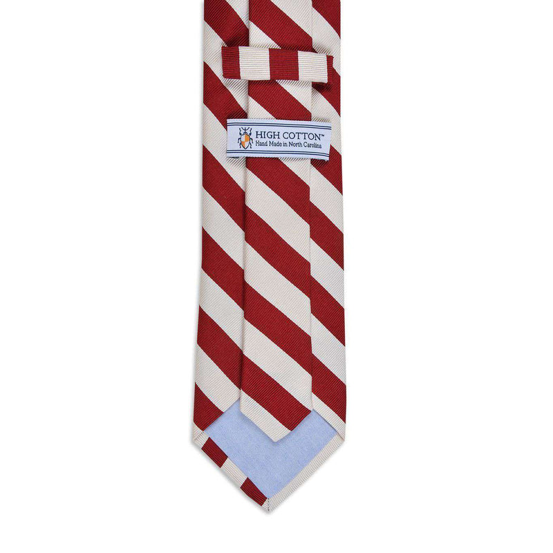 All American Stripe Neck Tie in Cardinal and White by High Cotton