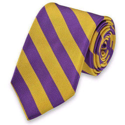 Neck Ties - All American Stripe Neck Tie In Purple And Gold By High Cotton