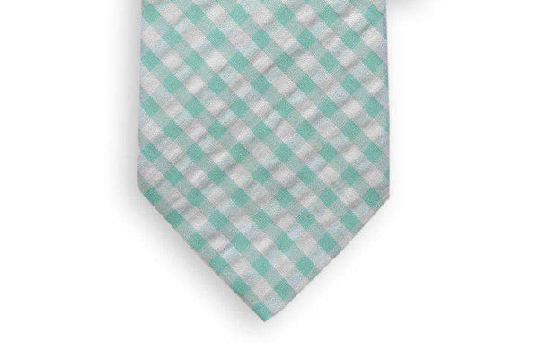 Neck Ties - Aqua Seersucker Check Necktie In Aqua Blue By High Cotton