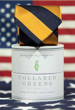 Neck Ties - Bagby Tie In Orange/Navy By Collared Greens