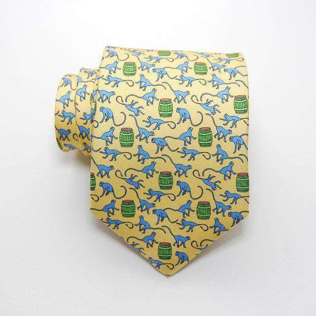 Neck Ties - Barrel Of Monkeys Tie In Yellow By Peter-Blair