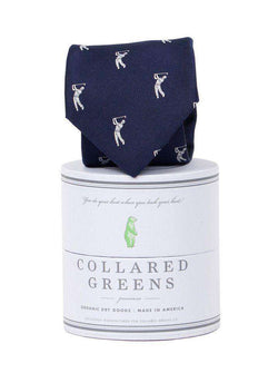 Neck Ties - Bethpage Tie In Navy And White By Collared Greens