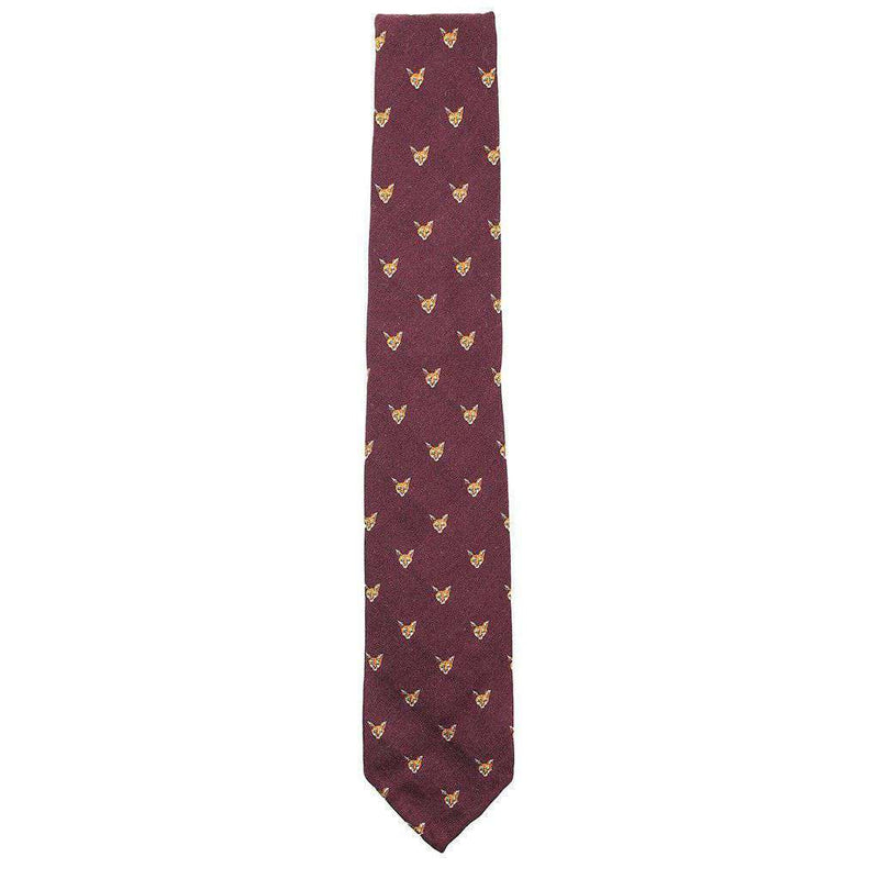 Neck Ties - Bordeaux Wool Neck Tie In Burgundy With Fox Head By Res Ipsa