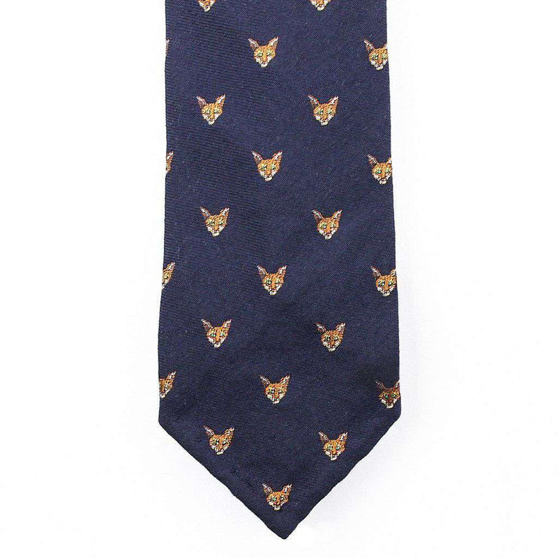 Neck Ties - Bordeaux Wool Neck Tie In Navy With Fox Head By Res Ipsa