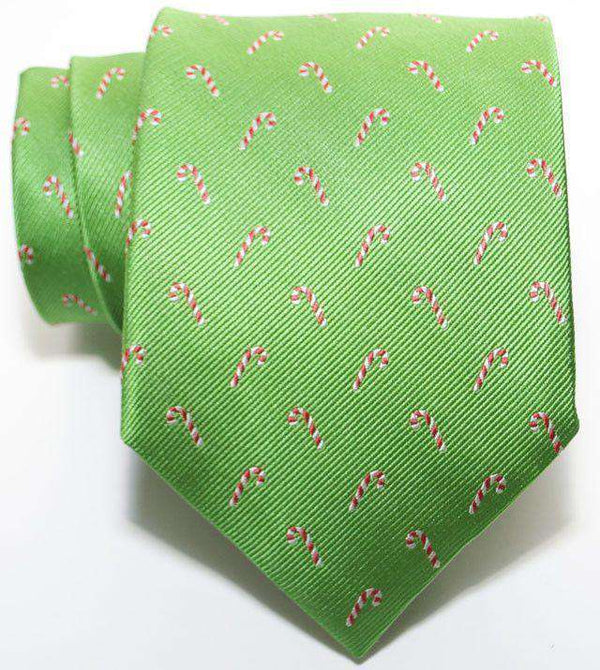 Candy Canes Woven Tie in Green by Peter-Blair