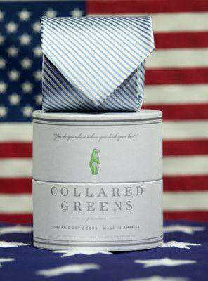 Neck Ties - CG Stripes Tie In Carolina Blue By Collared Greens