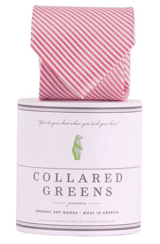 Neck Ties - CG Stripes Tie In Pink By Collared Greens