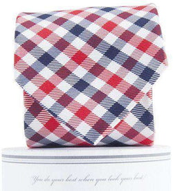 Neck Ties - Collegiate Quad Neck Tie In Navy And Red By Collared Greens