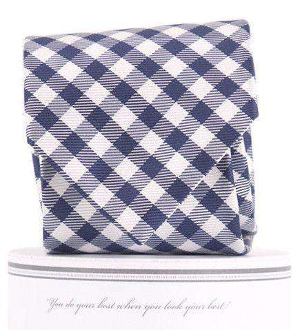 Collegiate Quad Neck Tie in Navy and White by Collared Greens
