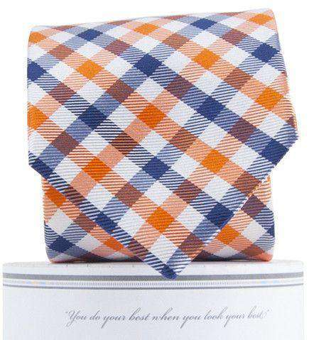Collegiate Quad Neck Tie in Orange and Navy by Collared Greens