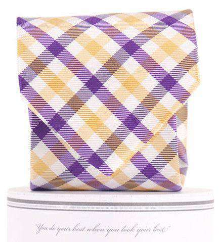 Collegiate Quad Neck Tie in Purple and Gold by Collared Greens