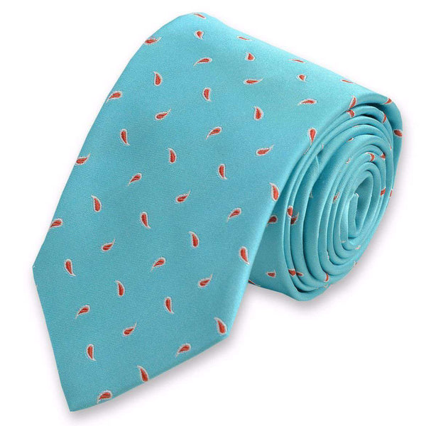 Neck Ties - Cooper Neck Tie In Aqua By High Cotton