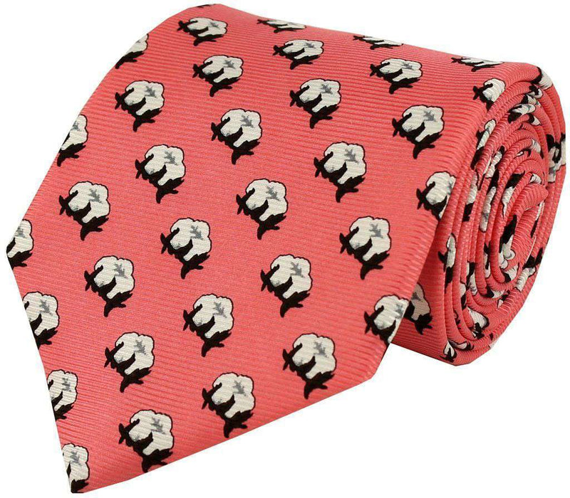 Neck Ties - Cotton Boll Tie In Proper Pink By Southern Proper