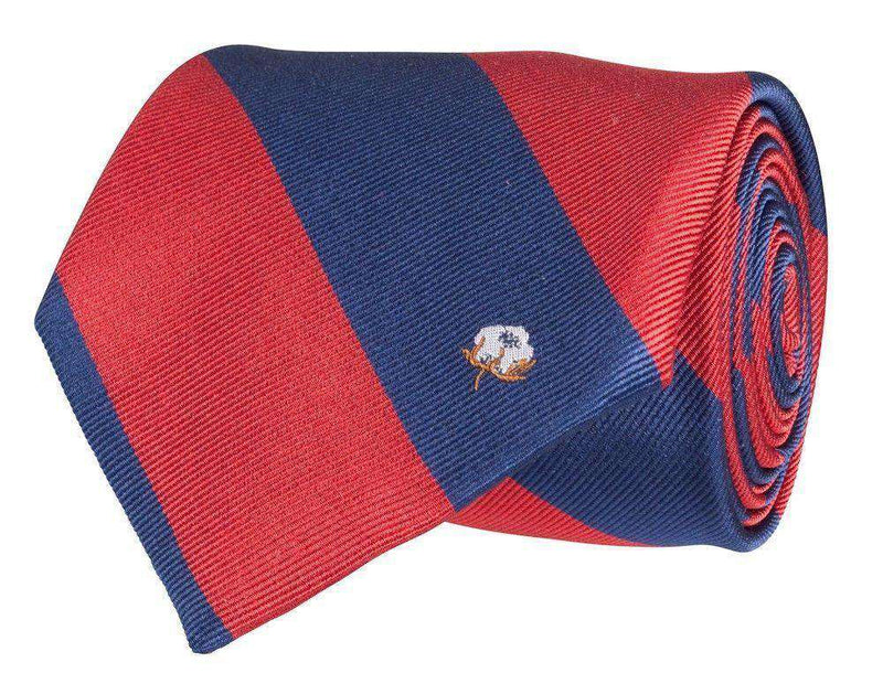 Neck Ties - Cotton Boll Tie In Red/Navy By Southern Proper