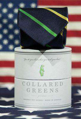 Neck Ties - Cushing Tie In Green/Yellow By Collared Greens