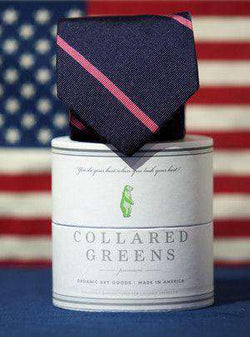 Neck Ties - Damsel Tie In Navy/Pink By Collared Greens