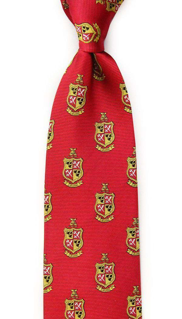 Neck Ties - Delta Chi Neck Tie In Military Red By Dogwood Black