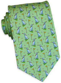 Neck Ties - Dogleg On Six Tie In Soft Green By Bird Dog Bay