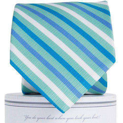 Neck Ties - Eastwood Tie In Teal & Blue By Collared Greens - FINAL SALE