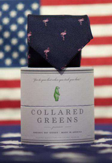 Neck Ties - Flamingo Tie In Navy By Collared Greens