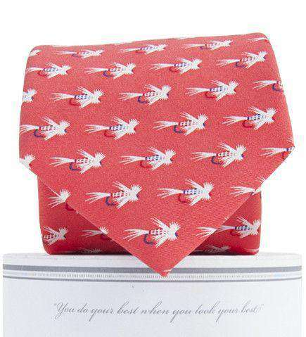 Flies Neck Tie in Salmon by Collared Greens