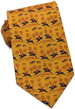 Neck Ties - Fox Hunt Tie In Gold By Bird Dog Bay
