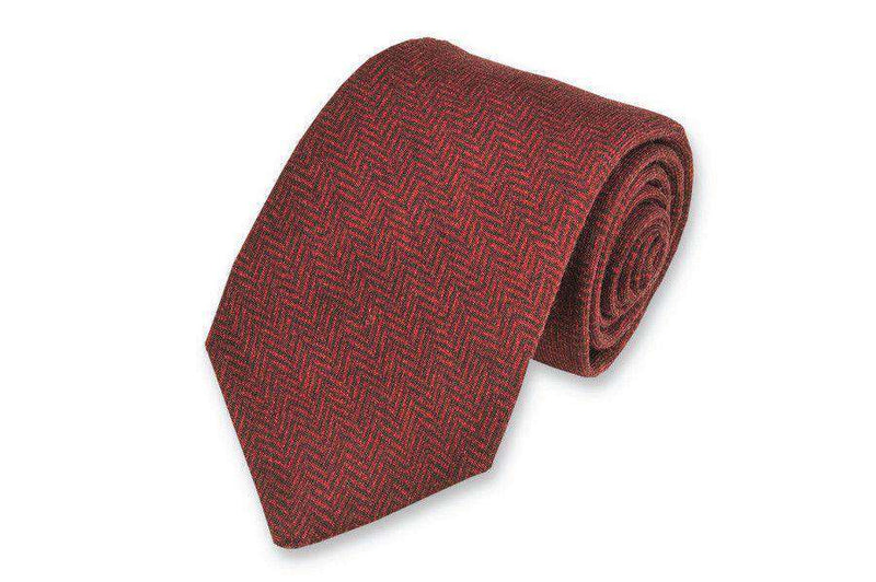 Neck Ties - Garnet Herringbone Necktie By High Cotton