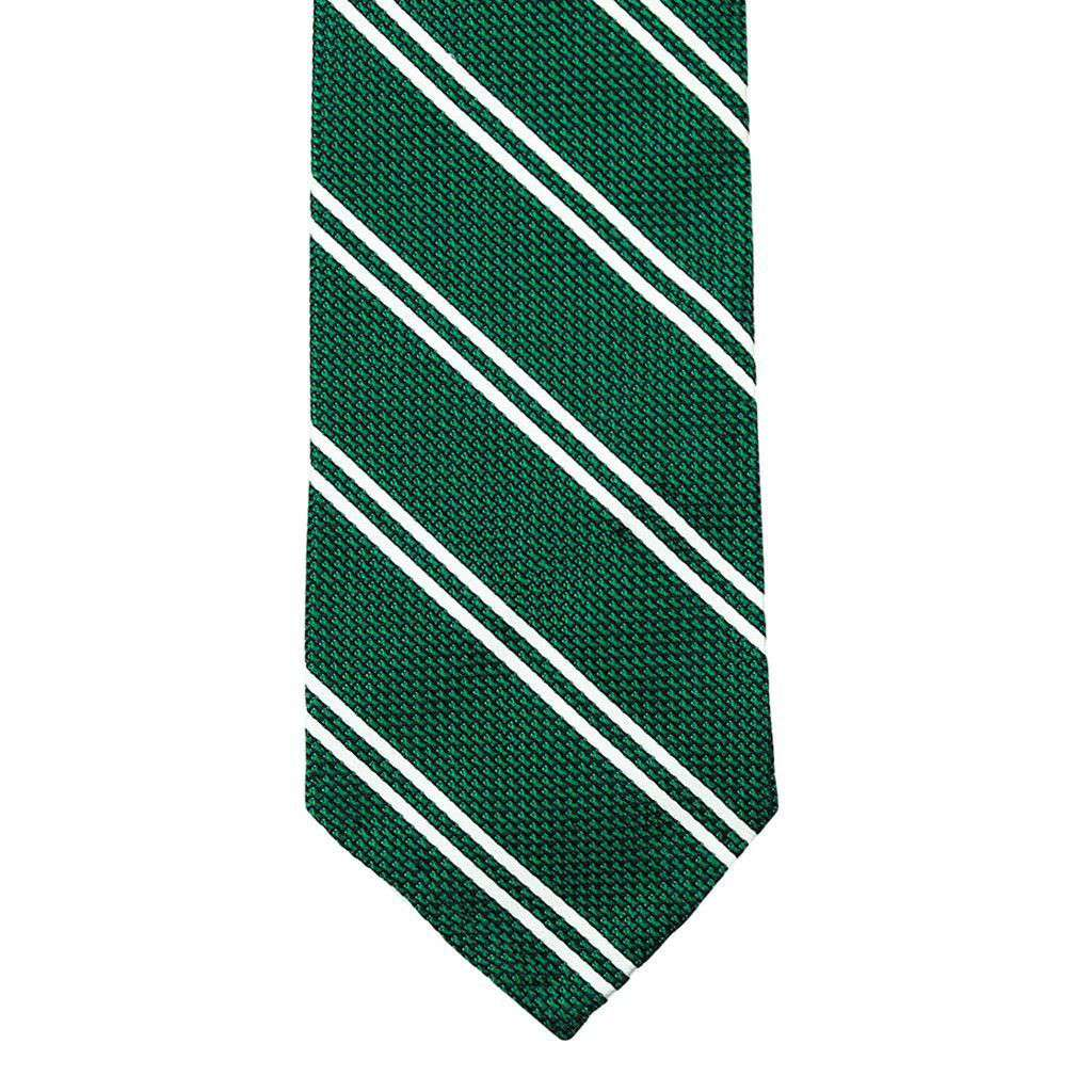 Neck Ties - Grenadine Neck Tie In Green With White Stripes By Res Ipsa