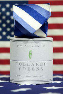 Neck Ties - Hatteras Tie In Two Blues/White By Collared Greens