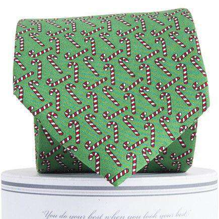 Holiday Candy Canes Tie in Green by Collared Greens