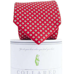 Neck Ties - Holiday Dots Tie In Red By Collared Greens