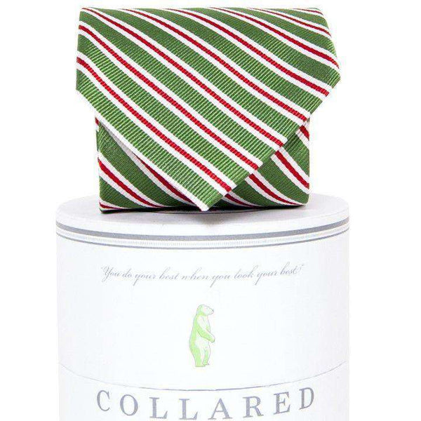 Neck Ties - Holiday Stripes Tie In Green By Collared Greens