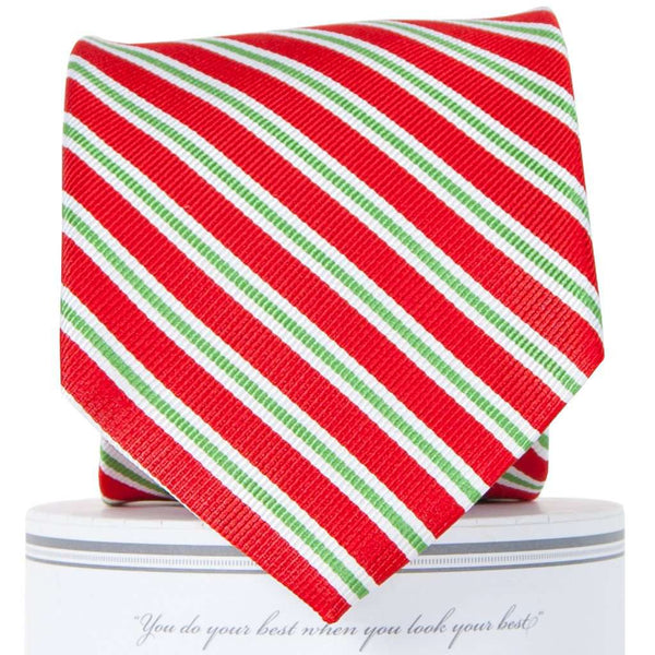 Neck Ties - Holiday Stripes Tie In Red By Collared Greens