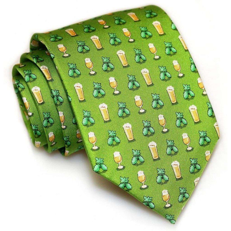 Neck Ties - Hoppy Hour Necktie In Lime By Bird Dog Bay - FINAL SALE