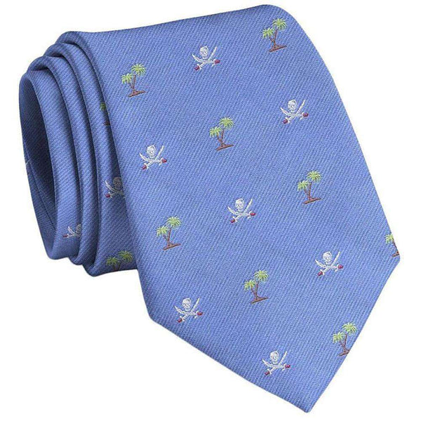 Neck Ties - Jolly Roger English Woven Pedigree Neck Tie In Blue By Bird Dog Bay - FINAL SALE