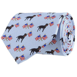 Neck Ties - Labs & Flags Tie In Light Blue By Southern Proper
