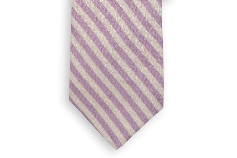 Neck Ties - Lavender And White Linen Necktie By High Cotton