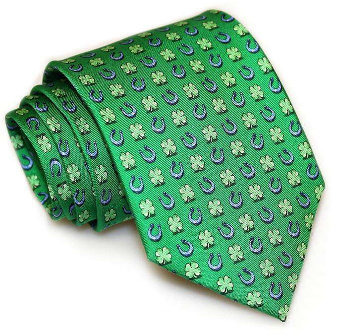 Neck Ties - Lucky Horseshoe Tie In Green By Bird Dog Bay
