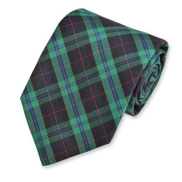Macleod Neck Tie in Green and Navy Tartan by High Cotton