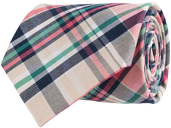 Neck Ties - Madras Plaid Tie In Navy By Southern Proper