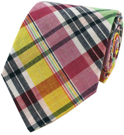 Neck Ties - Madras Plaid Tie In Sconset By Just Madras - FINAL SALE