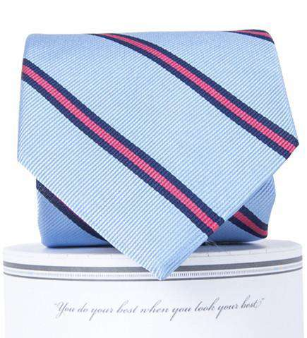 Neck Ties - Martin Neck Tie In Carolina Blue And Pink By Collared Greens