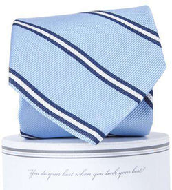 Neck Ties - Martin Neck Tie In Carolina Blue And White By Collared Greens