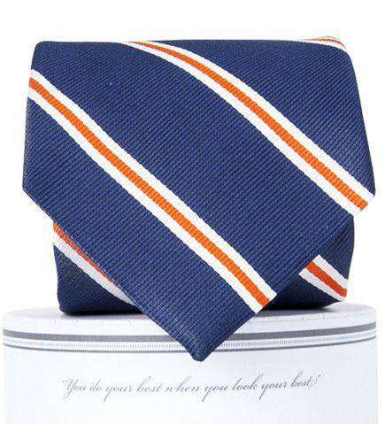 Neck Ties - Martin Neck Tie In Navy And Orange By Collared Greens