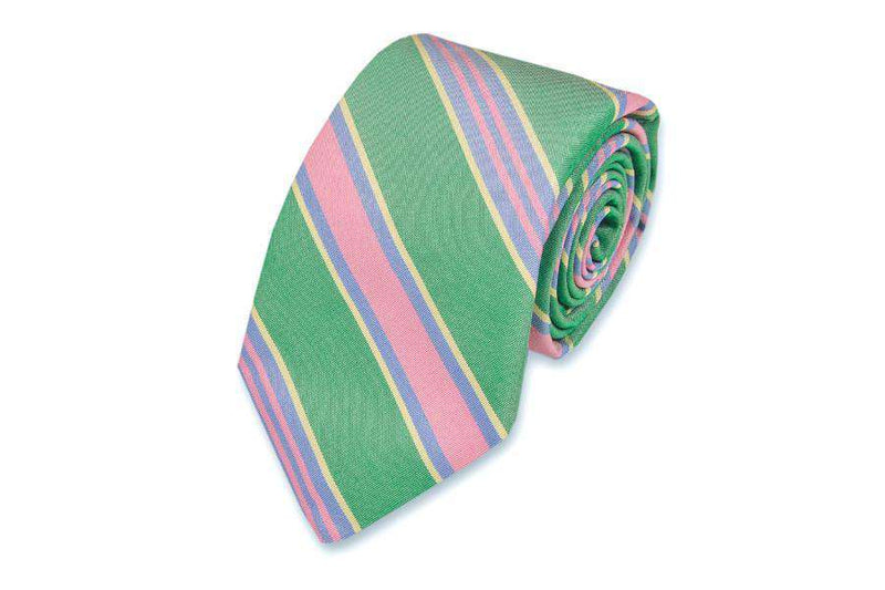 Neck Ties - Maybank Stripe Necktie In Kelly By High Cotton