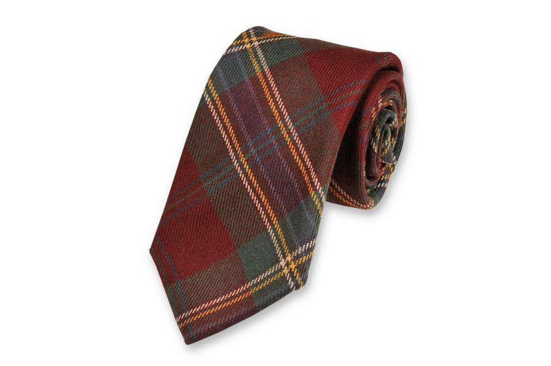 Neck Ties - McLean Tartan Necktie In Forest Green & Dark Red By High Cotton